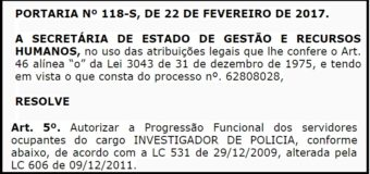 SEGER PUBLICA A PROGRESSÃO FUNCIONAL DOS INVESTIGADORES DE POLICIA