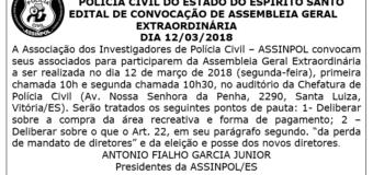 EDITAL DE CONVOCAÇÃO DE ASSEMBLEIA GERAL EXTRAORDINÁRIA DIA 12/03/2018