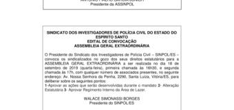 EDITAL DE CONVOCAÇÃO ASSEMBLEIA GERAL EXTRAORDINÁRIA 18/09/2019