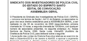 EDITAL DE CONVOCAÇÃO ASSEMBLEIA DIA 30/11